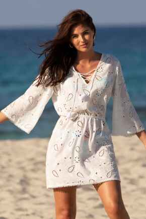 Cotton Broderie Cover Up - White