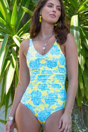 Heatwave Scoop Neck Control Swimsuit  - Sunshine