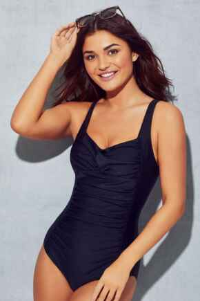 Twisted Front Control Swimsuit - Black
