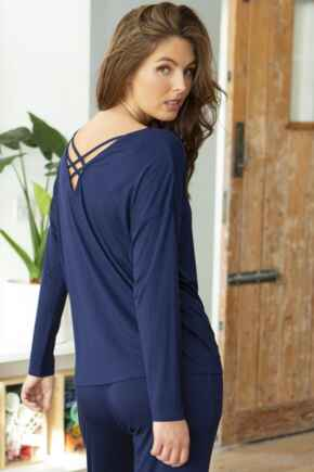 Sofa Love Cross Strapped Long Sleeve Top - Navy
