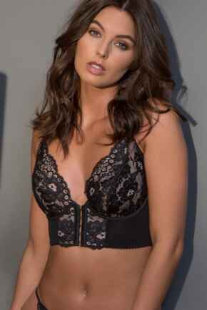 Amour Accent Front Fastening Underwired Bralette - Black/Pink