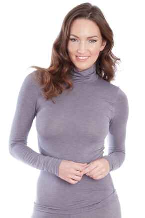 Second Skin Thermal Roll Neck Top - Grey