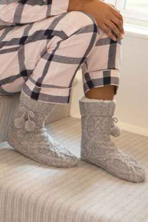 Cosy Cable Knit Slipper Sock - Grey