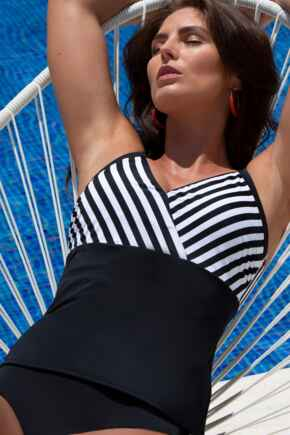 Capri Stripe Tankini Top - Black/White