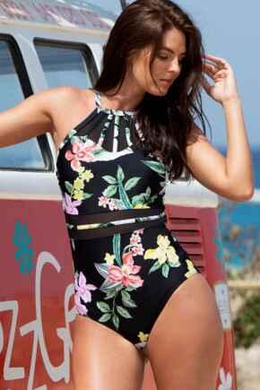 Miami Brights High Neck Swimsuit - Black