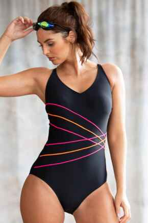 Energy Chlorine Resistant V Neck Linear Swimsuit - Black