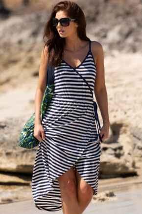 Stripe Jersey Midi Wrap Dress - Navy/White