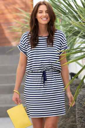 Jersey T-Shirt Dress - Navy/White