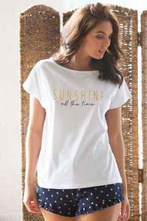 Sunshine All The Time Jersey Cotton Short PJ Set - Navy/White