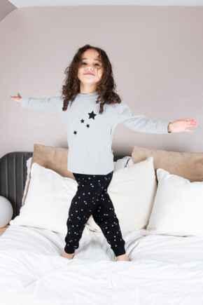 Mini Moi Star Print Jersey Jogger Pyjama Set - Grey/Black