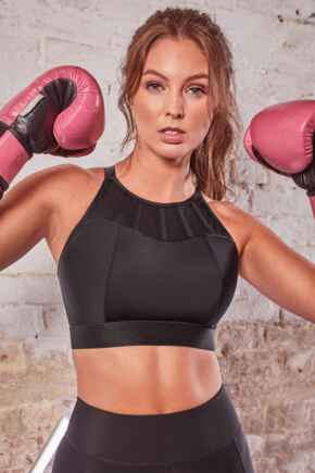 Energy Empress High Neck Padded Non Wired Sports Bra - Black