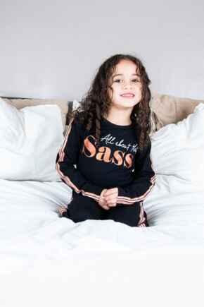 Mini Moi Jersey Cotton Slogan Pyjama Set - Black