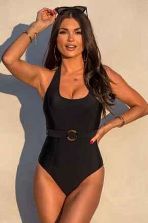 Belted Halter Control Swimsuit - Black