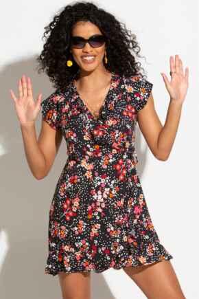 Textured Woven Wrap Beach Dress - Black Floral