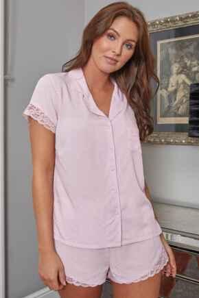 Spot Woven Lace Mix Revere Collar Shirt - Blush