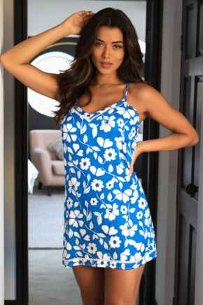 Luxe Woven Secret Support Chemise - Blue Floral