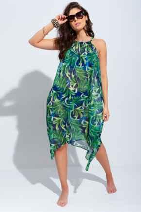 Crinkle Chiffon Hanky Hem Beach Dress - Green Print