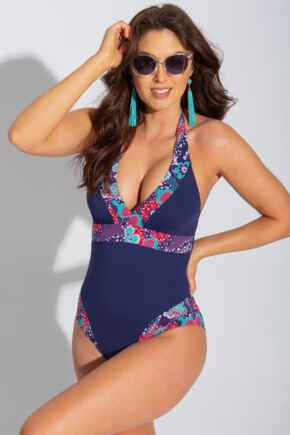 Positano Removable Cup Halter Control Swimsuit  - Navy/Paisley
