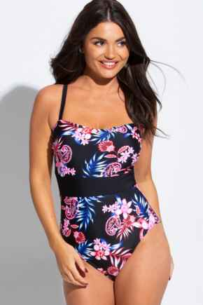 Floral Fern Control Printed Swimsuit - Black Floral