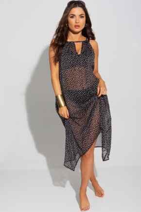 Crinkle Chiffon Hanky Hem Beach Dress - Black/White