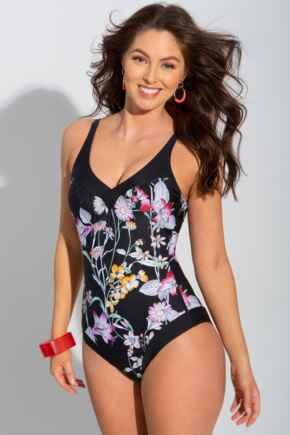 Black Floral Contour Control Swimsuit