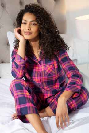 Cosy Check Pyjama Set - Raspberry/Navy
