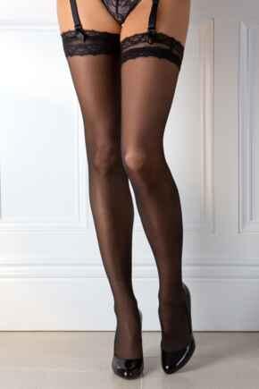 Dark Romance Eyelash Lace Top 15 Denier Stocking - Black