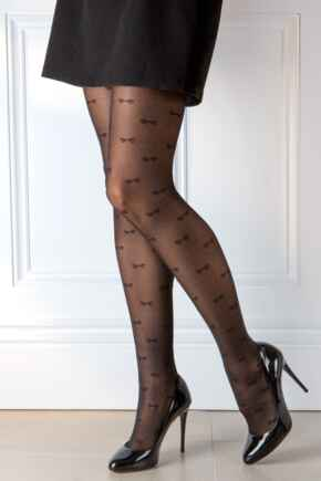 Bow Luxe Pattern 20 Denier Tights  - Black
