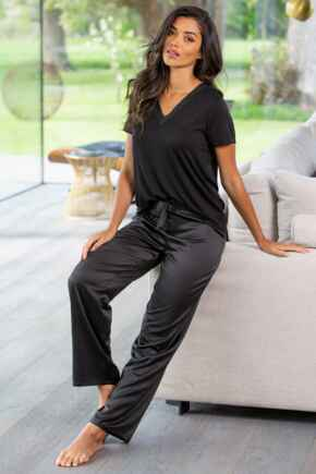 Jersey And Satin PJ Set - Black