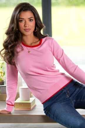 Rosie Colourblock Ecovero Knit Jumper - Pink/Red