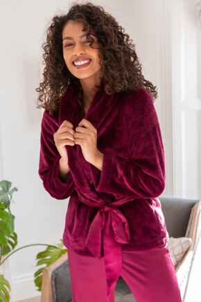 Satin Trim Dressing Gown Jacket - Berry