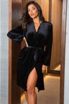 Velour Midi Length Gown - Black