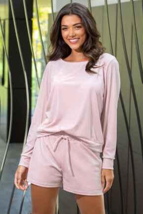 Velour Short Pyjama Set  - Pale Pink