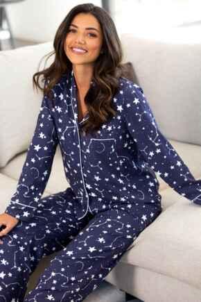 Luxe Woven Twill Pyjama Set - Navy/Ivory