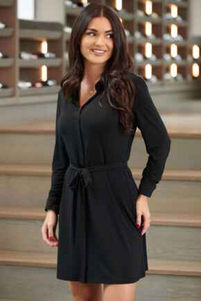 Bailey Slinky Recycled Jersey Mini Shirt Dress  - Black