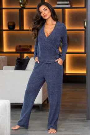 Sofa Love Marl Straight Leg Lounge Trouser - Navy Marl