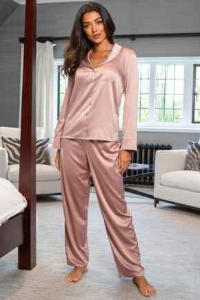 Dusk Satin Pyjama Set - Mink