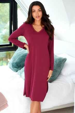 Modal Jersey Long Sleeve V Neck Secret Support Nightdress  - Berry
