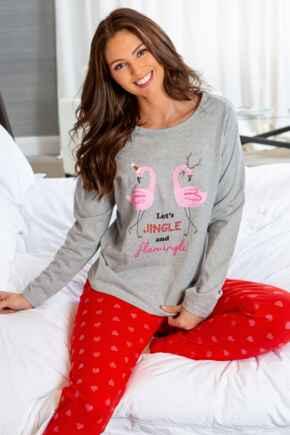 Jingle and Flamingle Cotton Jersey Festive Pyjama Set - Grey/Red