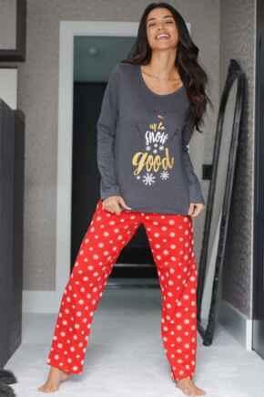 Up to Snow Good Cotton Jersey Festive Pyjama Set  - Charcoal