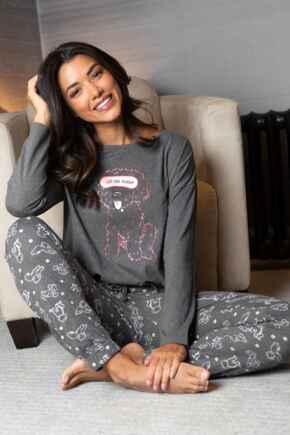 Jersey Cotton Cockapoo Pyjama Set - Charcoal