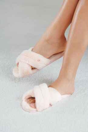 Faux Fur Crossover Slider Slipper  - Blush/Pink